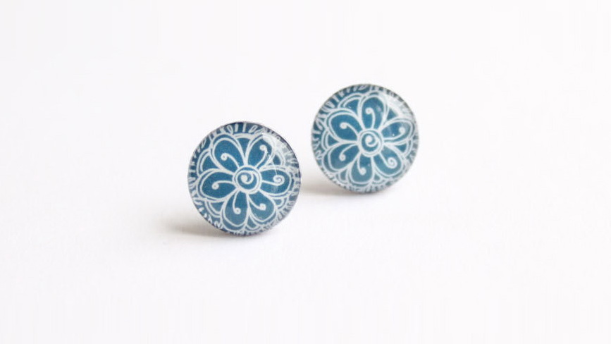 Henna blue post earrings