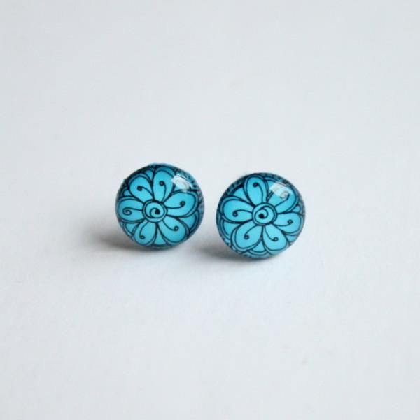 Blue flower pattern stud earrings