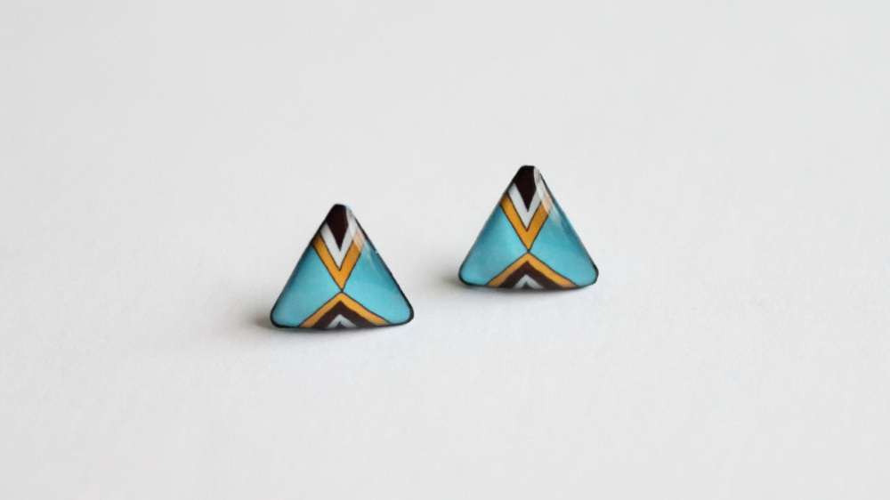 Blue triangular stud earrings