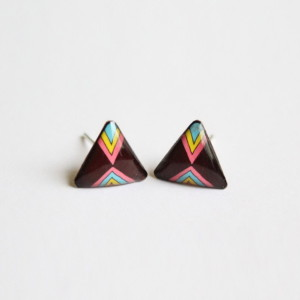 Tribal stud earrings: brown triangle studs