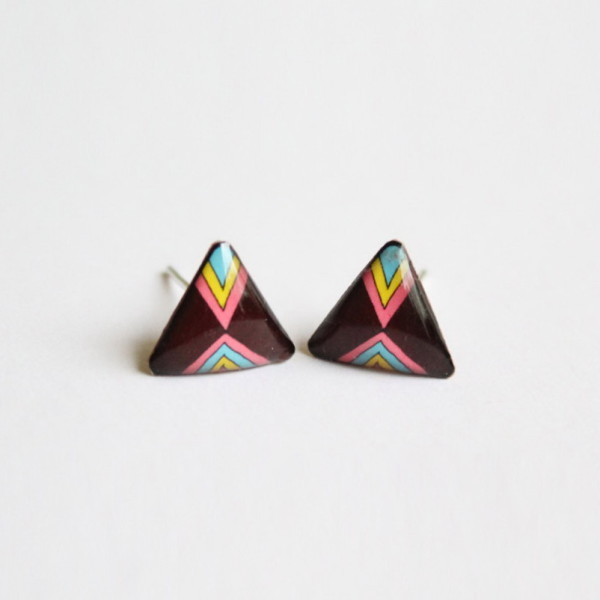 brown triangle post earrings