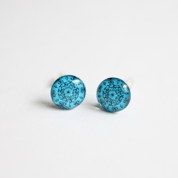 Yoga mandala blue stud earrings