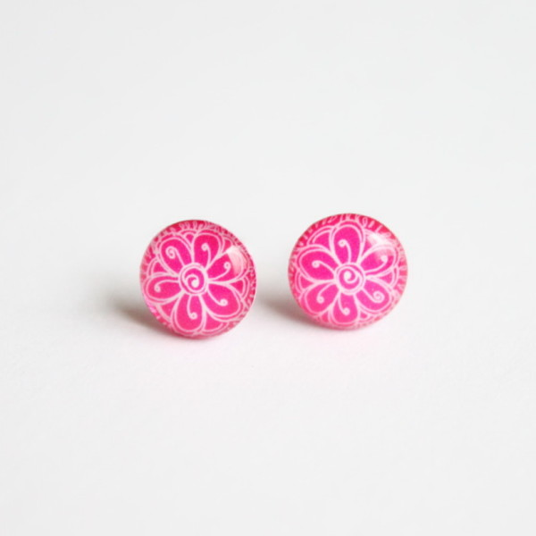 Girly neon pink flower studs