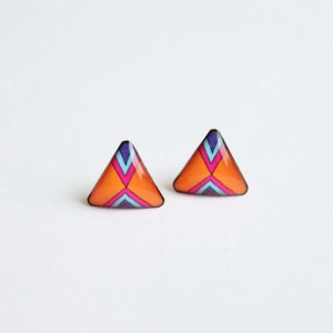 Triangular bright orange stud earrings
