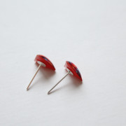 orange triangle post earrings sideview