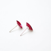 pink triangle stud earrings side view