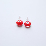 red bohemian stud earrings back side