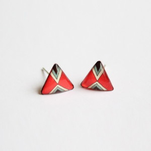 Tribally inspired red triangular studs