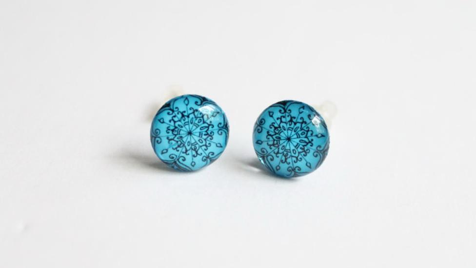 Mandala / henna style bright blue stud earrings